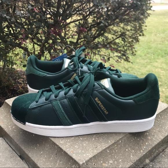 Adidas Green Velvet Superstar Sneakers